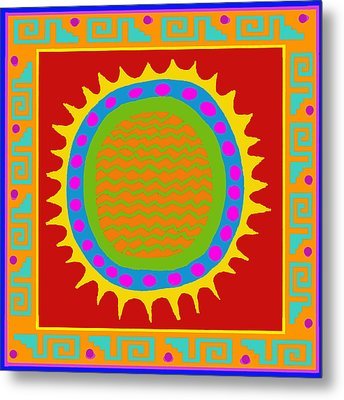 Metal Print featuring the digital art Aztec Del Sol by Vagabond Folk Art - Virginia Vivier
