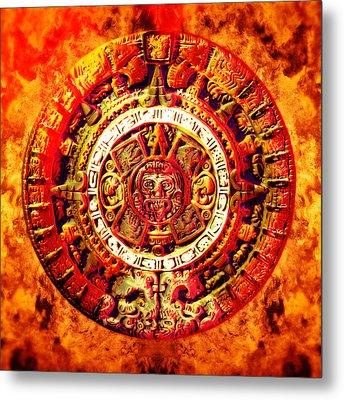 Aztec Sun Stone Metal Print by YoPedro