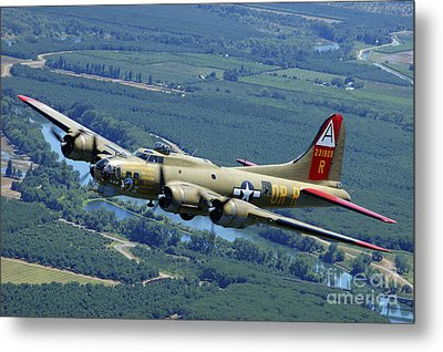 B-17 Flying Fortress Flying Metal Print by Phil Wallick