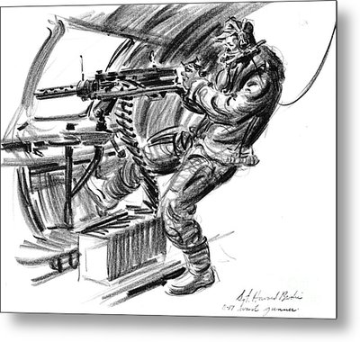 B-17 Waist Gunner 1942 Metal Print by Padre Art