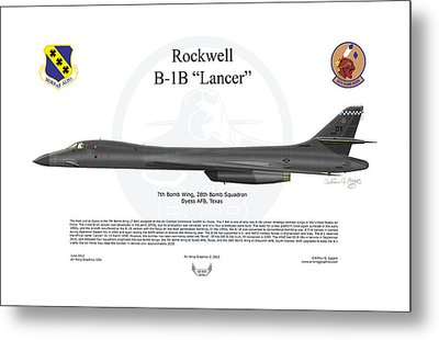 B-1b Lancer 7bw Metal Print by Arthur Eggers