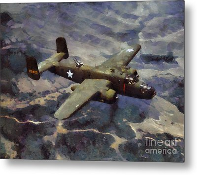 Metal Print featuring the painting B-25 Bomber by Kai Saarto
