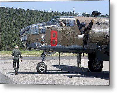 B-25 Bomber Pre-flight Check Metal Print by Daniel Hagerman