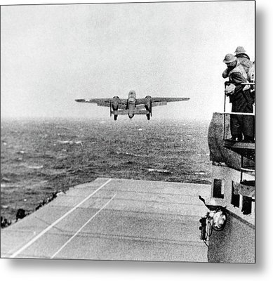 B-25 Bomber Taking Off During Wwii Metal Print by Us Air Force