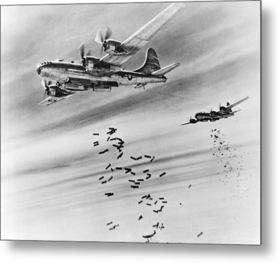 B-29s Bombing Burma Metal Print by Underwood Archives