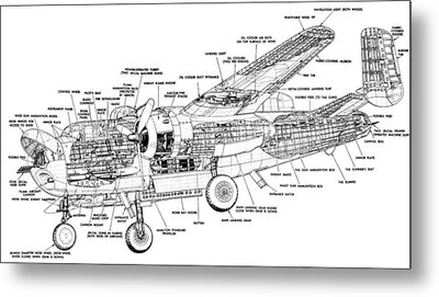 B25 Mitchell Schematic Diagram Metal Print