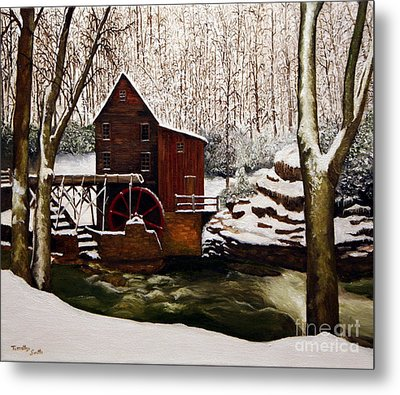 Babcock Mill In The Snow Metal Print by Timothy Smith