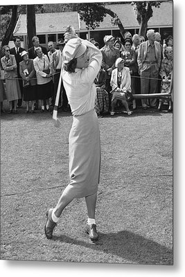 Babe Didrikson Teeing Off Metal Print by Julian Graham
