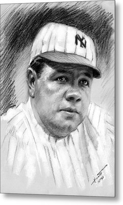 Metal Print featuring the drawing Babe Ruth by Viola El
