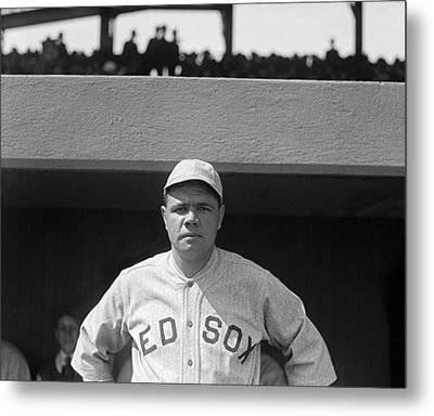 Babe Ruth In Red Sox Uniform Metal Print