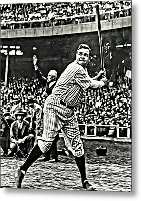 Babe Ruth Painting Metal Print by Florian Rodarte