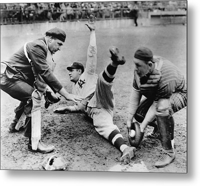 Babe Ruth Slides Home Metal Print by Underwood Archives