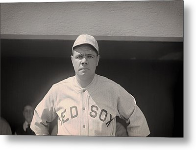 Babe Ruth With The Sox Metal Print by Mountain Dreams