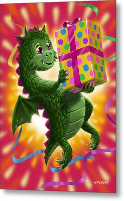 Baby Birthday Dragon With Present Metal Print