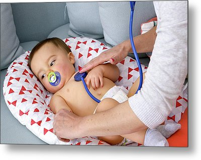 Baby Boy Being Examined By A Doctor Metal Print