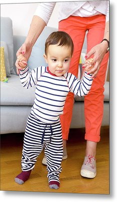 Baby Boy Learning To Walk Metal Print