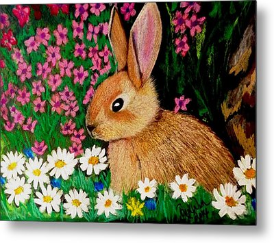 Baby Bunny In The Garden At Night Metal Print