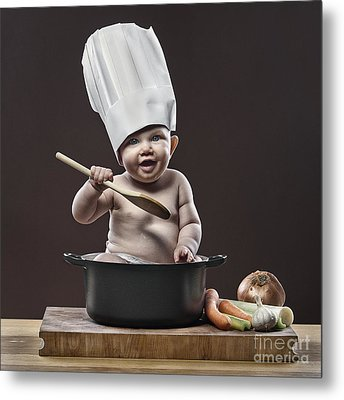 Baby Chef Metal Print by Justin Paget