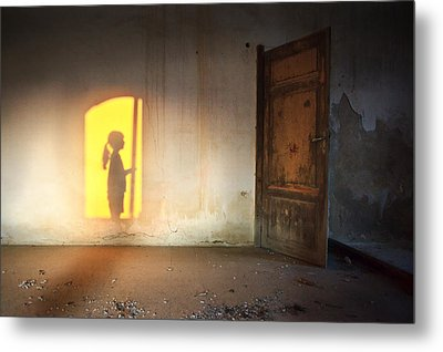 Baby Do Not Open That Door Metal Print by Alfio Finocchiaro