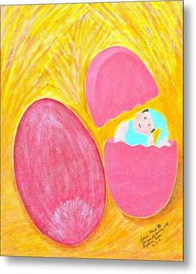 Metal Print featuring the painting Baby Egg by Lorna Maza