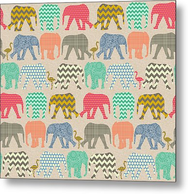 Baby Elephants And Flamingos Linen Metal Print by Sharon Turner