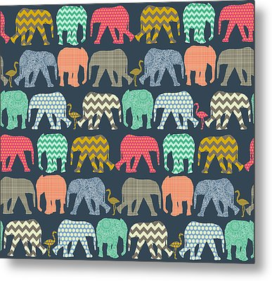 Baby Elephants And Flamingos Metal Print by Sharon Turner
