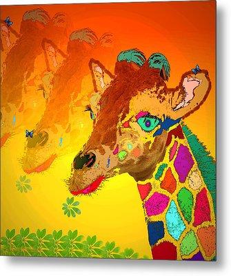 Baby Giraffe 2a Metal Print by Joyce Dickens