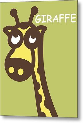 Baby Giraffe Nursery Wall Art Metal Print