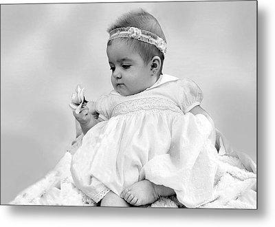 Baby Girl Holding Flower Black And White Metal Print by Sally Rockefeller