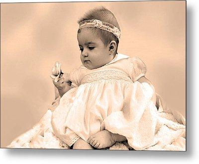 Baby Girl Holding Flower Sepia Metal Print by Sally Rockefeller