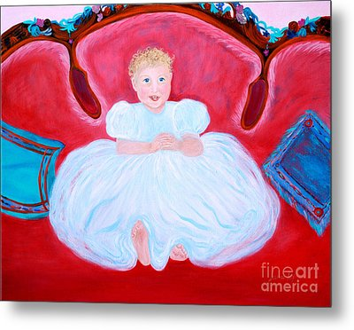 Metal Print featuring the painting Baby Girl. Inspirations Collection. by Oksana Semenchenko