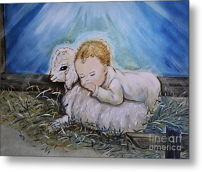 Baby Jesus Little Lamb Metal Print