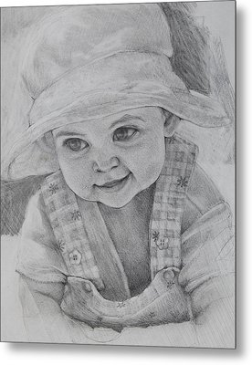 Metal Print featuring the drawing Baby Meg by Jani Freimann