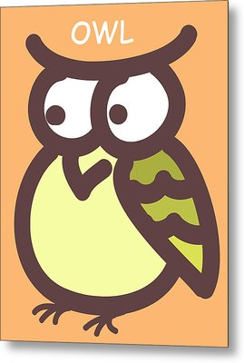 Baby Owl Nursery Wall Art Metal Print by Nursery Art