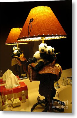 Baby Pandas In A Saddle  Metal Print by Ausra Huntington nee Paulauskaite
