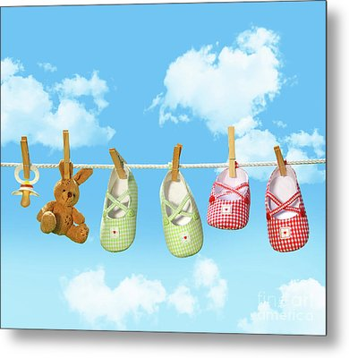 Baby Shoes And Teddy Bear On Clothline Metal Print by Sandra Cunningham