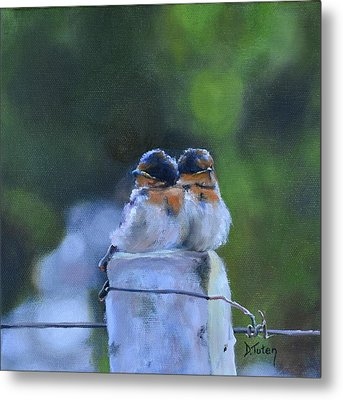 Baby Swallows On Post Metal Print by Donna Tuten