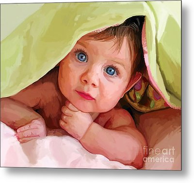 Metal Print featuring the painting Baby Under Blanket by Tim Gilliland