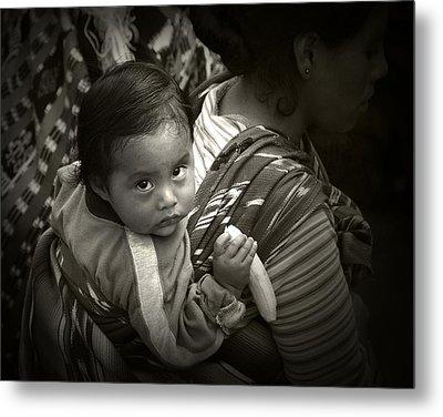 Baby With A Banana Metal Print