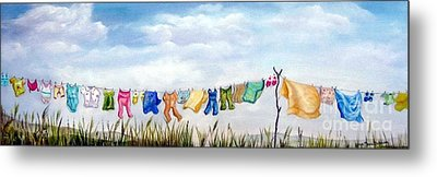 Baby's Clothesline Metal Print by Anna-maria Dickinson