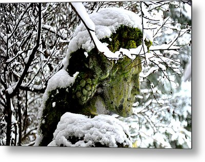 Bacchus Statue Under Snow Metal Print by Tanya  Searcy