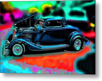 Back In The Day Vintage Car Art Metal Print by Lesa Fine