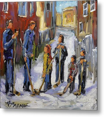 Back Lane Hockey The Stand Off By Prankearts Metal Print