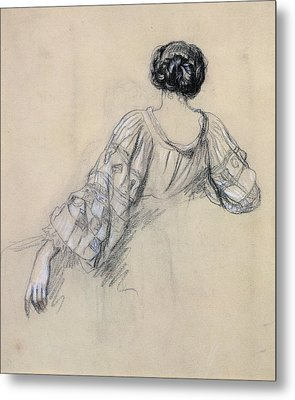 Back Of A Young Woman Metal Print by Antoine Auguste Ernest Herbert