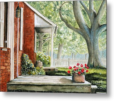 Back Porch Geraniums Metal Print