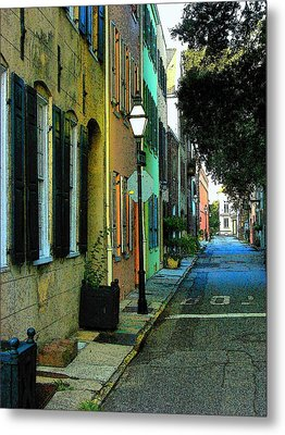 Metal Print featuring the photograph Back Street In Charleston by Rodney Lee Williams