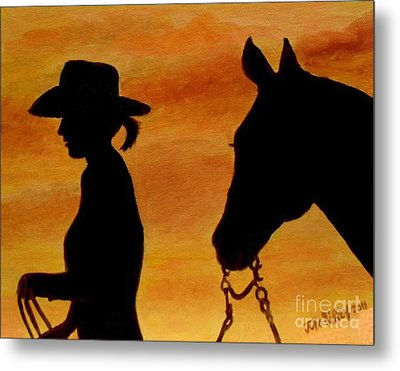 Metal Print featuring the painting Back To The Barn by Julie Brugh Riffey