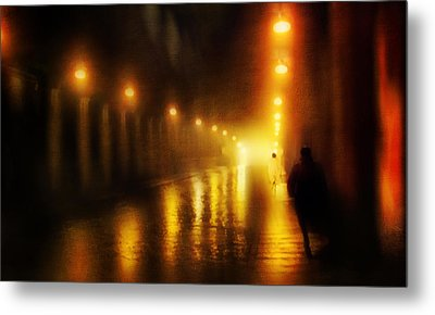 Back To The Past. Alley Of Light Metal Print by Jenny Rainbow