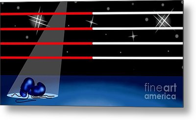 Background Of Boxing Ring Metal Print by Iam Nee