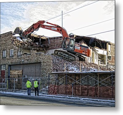 Backhoe Demolition Metal Print by Daniel Hagerman